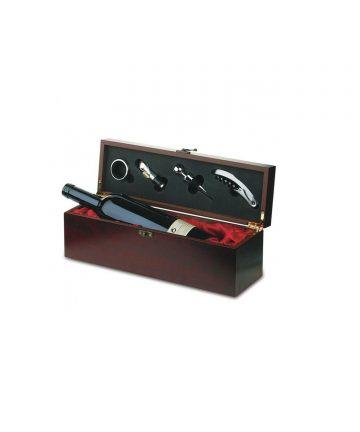 Cutie din lemn pentru sticla de vin cu 5 accesorii