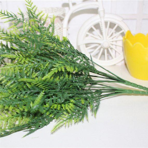 Plastic-Fern-Kunstmatige-Plant-Groen-Blad-Gebladerte-Bloemen-Decor-7-Stengels-Struiken-Bloem-Bonsai-Huis-Tuin