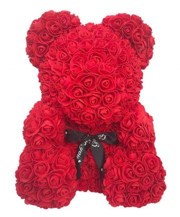 Ursulet Rose Bear din Trandafiri Rosii Decorat Manual, inaltime 25 cm - Cadoul Perfect