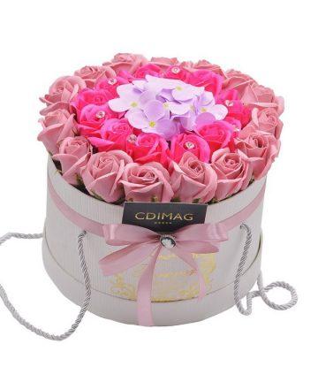 Cutie cu trandafiri si hortensie de sapun, Hand Made by CDIMAG®