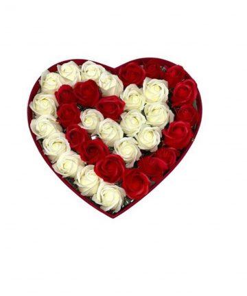 Cutie cu flori de sapun albi, rosii CDI Mag, 20 cm