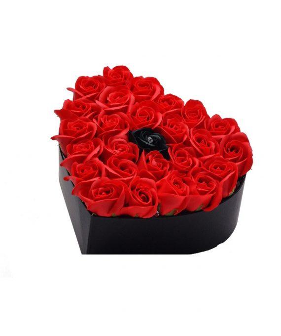 Cutie in forma de inima , cu 21 trandafiri