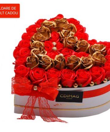 Cutie inima cu trandafiri de sapun-01