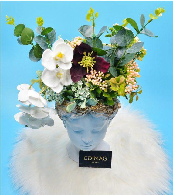 Vaza Venus decorata cu orhidee si eucalipt cu aspect natural, 40 cm Hand Made by CDIMAG®-1
