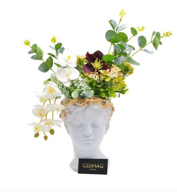 Vaza Venus decorata cu orhidee si eucalipt cu aspect natural, 40 cm Hand Made by CDIMAG®