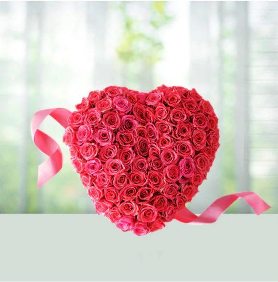 inima cu trandafiri spuma